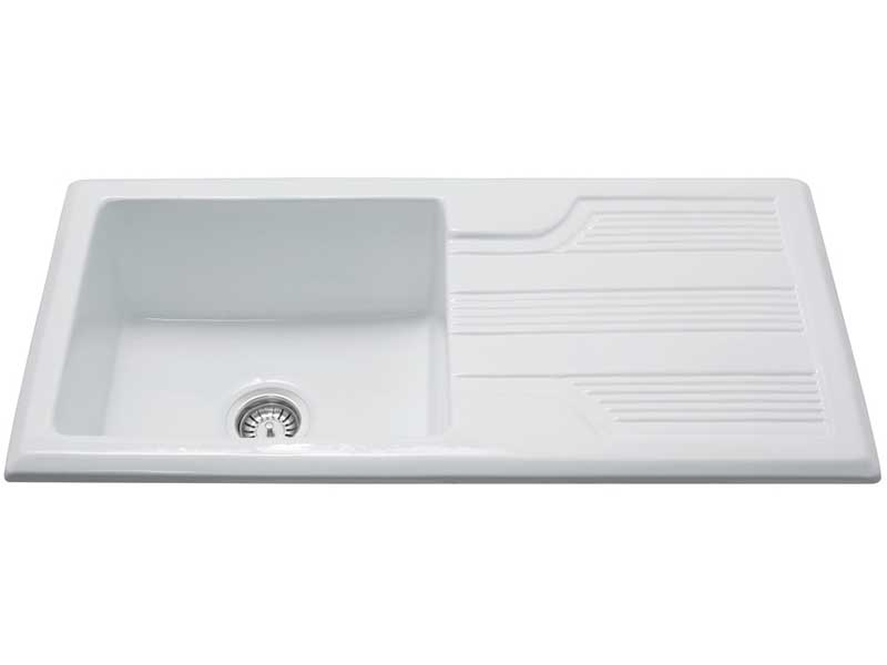 CDA KC23WH Ceramic Single Bowl Sink