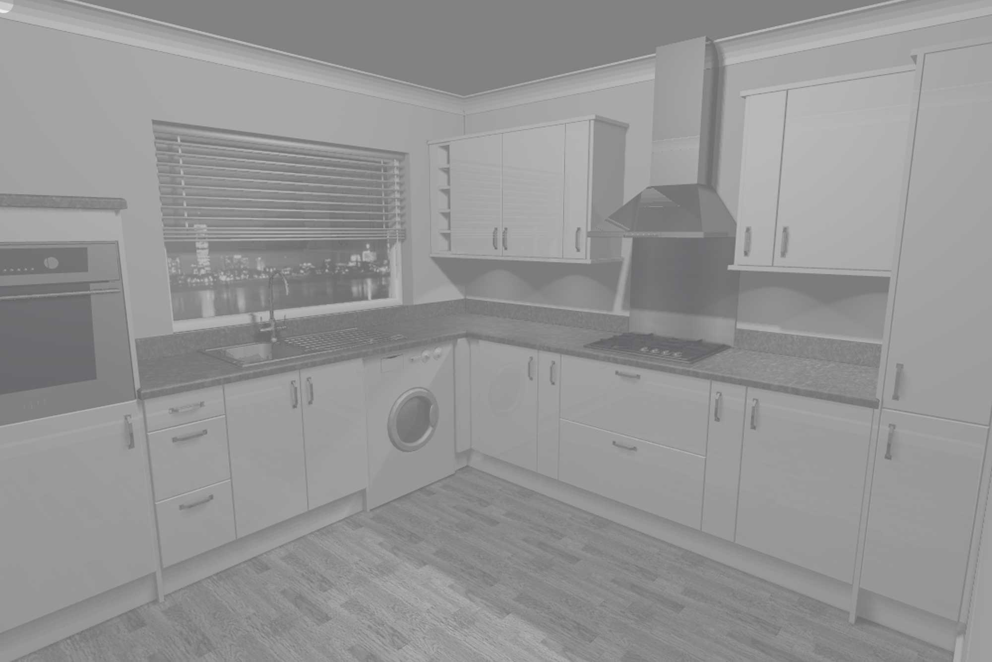 White Gloss Slab 14 Unit Kitchen
