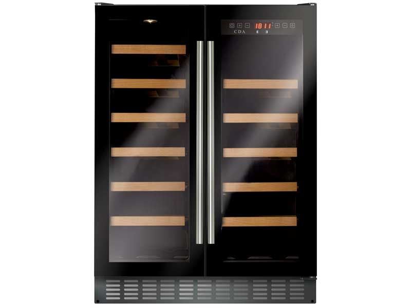 CDA FWC624BL Freestanding Double Door Wine Cooler