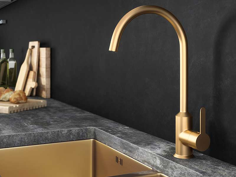 Ellsi Entice Gold Mixer Tap with Swivel Spout